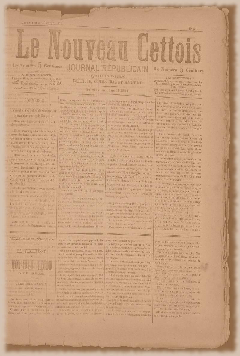 LE NOUVEAU CETTOIS, période de 1879 à 1880